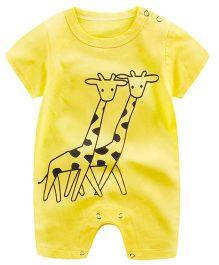 Pre Order - Awabox Giraffe Print Romper - Yellow