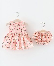 Pre Order - Lil Mantra Cherry Printed Chequered Dress & Blommer Set - Peach