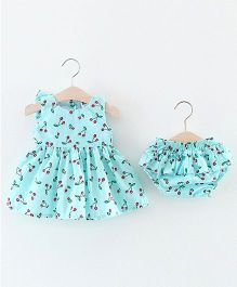 Pre Order - Lil Mantra Cherry Printed Chequered Dress & Blommer Set - Blue