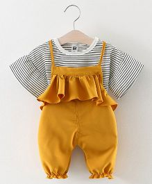 Pre Order - Lil Mantra Top & Frill Bodice Dungaree Set - Yellow