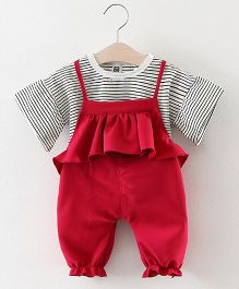 Pre Order - Lil Mantra Top & Frill Bodice Dungaree Set - Red