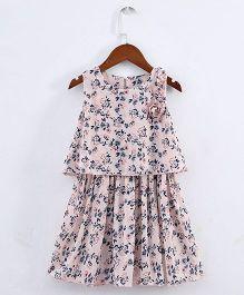 Pre Order - Lil Mantra Flower Printed Crop Top & Skirt - Pink