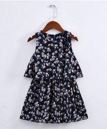 Pre Order - Lil Mantra Flower Printed Crop Top & Skirt - Navy Blue