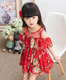 Pre Order - Lil Mantra Flower Print Off Shoulder Frill Dress - Red