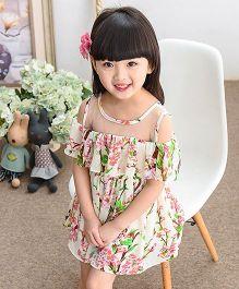 Pre Order - Lil Mantra Flower Print Off Shoulder Frill Dress - Cream