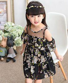 Pre Order - Lil Mantra Flower Print Off Shoulder Frill Dress - Black