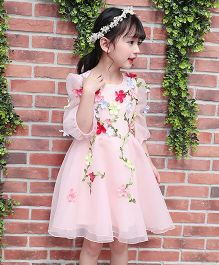 Pre Order - Lil Mantra Leaves & Flowers Applique Dress - Pink