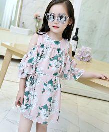 Pre Order - Lil Mantra Flower Printed Cold Shoulder Dress - Pink