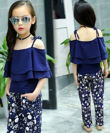 Pre Order - Lil Mantra Off Shoulder Frill Bodice Top & Pants - Navy Blue