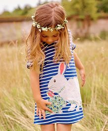 Pre Order - Lil Mantra Rabbit Patch A-Line Dress - Blue