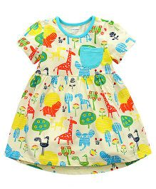 Pre Order - Lil Mantra Animals & Trees Printed Dress - Multicolour