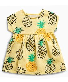 Pre Order - Lil Mantra Pineapples Printed Dress - Yellow