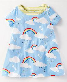Pre Order - Lil Mantra Clouds & Rainbow Printed Snap Buttoned Dress - Blue