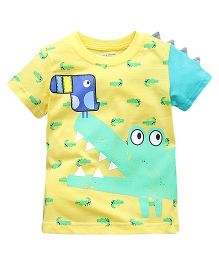 Pre Order - Lil Mantra Bird On Crocodile Printed Tee - Yellow