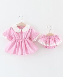 Pre Order - Lil Mantra Peter Pan Collar Dress & Bloomer - Pink