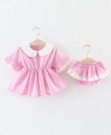 Pre Order - Lil Mantra Peter Pan Collar Dress & Bloomer - Pink