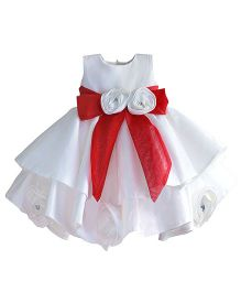 Pre Order - Lil Mantra Frill Dress With Flower Bow - White