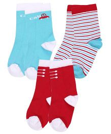 Mustang Ankle Length Socks Pair of 3 - Aqua Red White