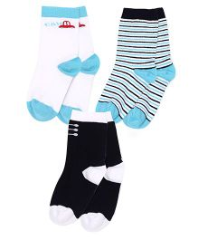 Mustang Ankle Length Socks Pair of 3 - Dark Blue White Aqua