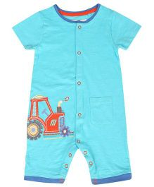 Tickles 4 U Jeep Print Romper With Front Pocket - Blue