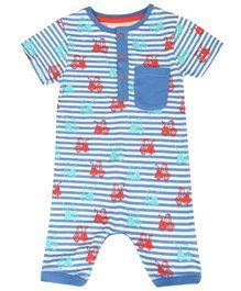 Tickles 4 U Stripe Print Romper With Front Pocket - Blue