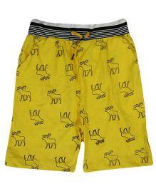 Tickles 4 U Deer Print Shorts - Yellow