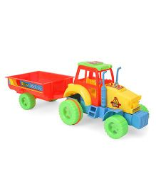 Kids Zone Friction Powered Nissan Tractor Trolley - Yellow Red