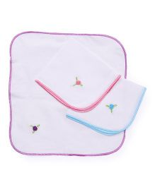 Chocopie Handkerchief Floral Embroidery Pack Of 3 - Sky Blue Pink Purple