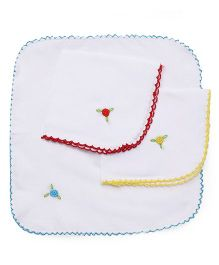 Chocopie Handkerchief Floral Embroidery Pack Of 3 - Sky Blue Red Yellow