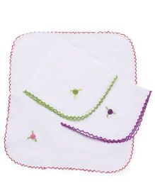 Chocopie Handkerchief Floral Embroidery Pack Of 3 - Green Pink Purple