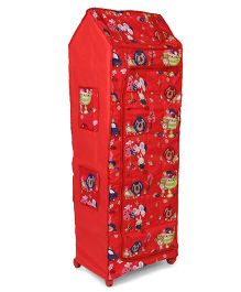Kids Zone Big Jinny Folding Almirah Animal's Print - Red