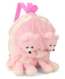 Funzoo Soft Toy Bag Twin Teddy Shape - Pink