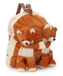 Funzoo Soft Toy Bag Twin Teddy Shape - Brown