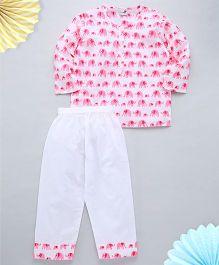 Needybee Handblock Elephant Printed Nightsuit - Pink