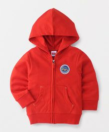 Babyhug Full Sleeves Hooded Sweat Jacket - Red