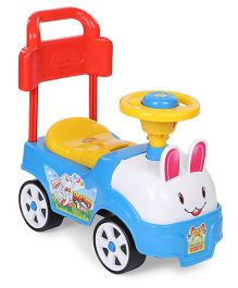 Kids Zone Manual Push Ride On Bunny Design - Sky Blue White Red