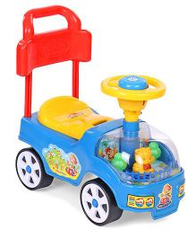 Kids Zone Manual Push Ride On - Blue Yellow Red
