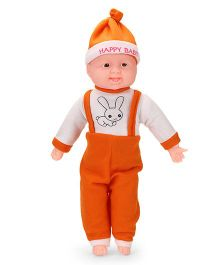 Kids Zone Laughing Doll Bunny Print Orange White - Height 47 cm