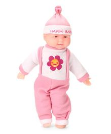 Kids Zone Laughing Doll Floral Print Pink White - Height 38 cm