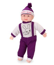 Kids Zone Laughing Doll Bunny Print Purple White - Height 38 cm