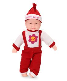 Kids Zone Laughing Doll Floral Print Red White - Height 38 cm