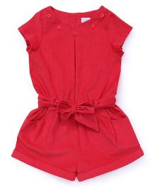 ToffyHouse Short Sleeves Corduroy Jumpsuit - Light Red
