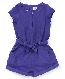 ToffyHouse Short Sleeves Corduroy Jumpsuit - Purple