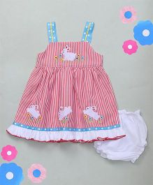 M'Princess Stripe Design Cotton Dress With Bloomer - Red