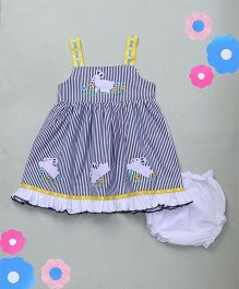 M'Princess Stripe Design Cotton Dress With Bloomer - Blue