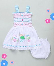 M'Princess Simple Cotton Dress With Bloomer - Blue