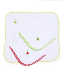 Chocopie Handkerchief Floral Embroidery Pack Of 3 - Yellow Red Green