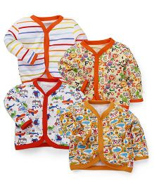 Kidi Wav Multi Prints Full Sleeves Jhabla Pack Of 4 - Multicolour
