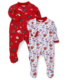 Kidi Wav Printed Footies Pack Of 2 - Red & White