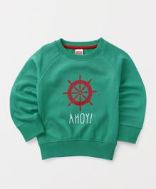 Babyhug Full Sleeves Pullover Sweatshirt Ahoy Print - Green